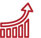 Bar graph with an arrow moving upward